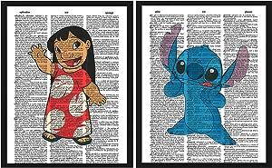 Signature Studios Lilo and Stitch Disney Prints Children's Bedroom Wall Decor Set of (2) 8x10 Dictionary Art Prints