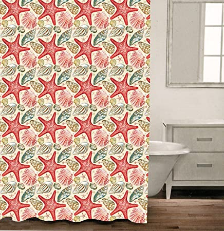 Efivishereme Bathroom Waterproof Polyester Fabric Shower Curtain 54 X 72 Inch Colorful Starfish And Conch