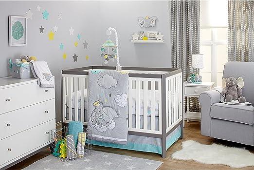 Juego de sábanas de 3 piezas, color gris, blanco y azul Dumbo The ...