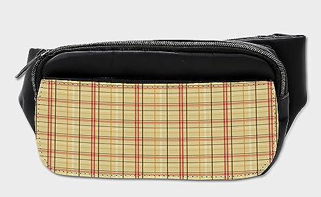 cbe4794cf558 Amazon.com | Lunarable Plaid Bumbag, Vintage Style Tartan Pattern ...