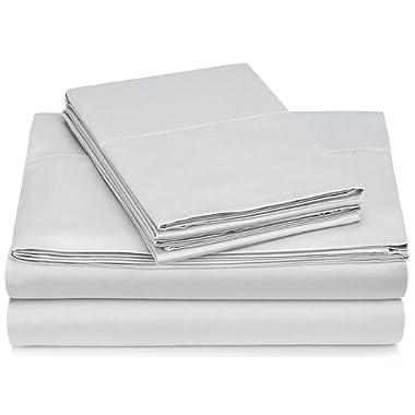 Pinzon 400-Thread-Count Egyptian Cotton Sateen Hemstitch Sheet Set - Queen, Light Gray