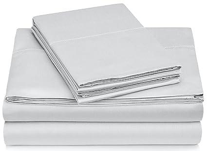 Pinzon 400 Thread Count Egyptian Cotton Sateen Hemstitch Sheet Set - Queen,  Light Grey