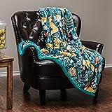 "Chanasya Super Soft Ultra Plush Gold Fox Teal Blue Navy Bright Vibrant Color Print Sherpa Bed Couch Sofa Microfiber Throw Blanket(50"" x 65"")- Blue Fox Lover"