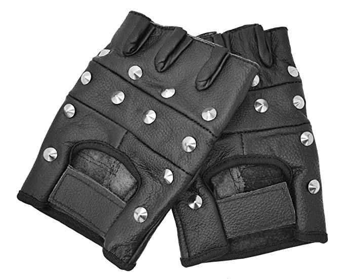 PrimeLeather qualité Tige en cuir véritable noir Punk Gothique Biker sans  doigts Gants Petit  Amazon.fr  Auto et Moto 5f0db354884