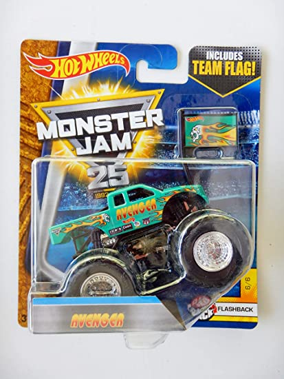 Amazon Com Hot Wheels Monster Jam Avenger New 2017 Includes Team Flag Flash Back 6 6 Rare 25 Years Everything Else