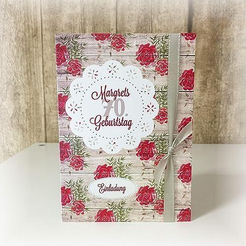 Einladung Einladungskarte Blumen Rosen Holz Shabby Runder Geburtstag