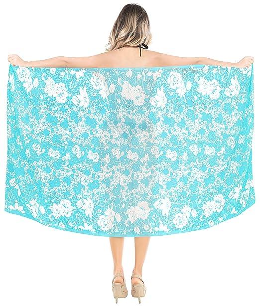 37c6756625873 LA LEELA Sheer Chiffon Resort Suit Girls Pareo Sarong Printed 78