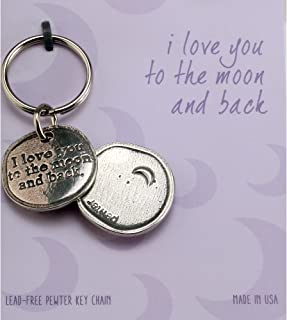 product image for Crosby & Taylor I Love You to The Moon and Back Pewter Sentiment Key Chain
