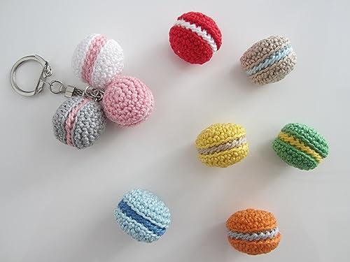 Porte clés macarons crochet, cadeau Noël à petit prix, petit