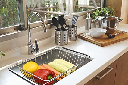 Amazoncom Stainless Steel Over The Sink Kitchen Dish Drainer Rack