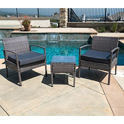 Amazon.com : Outdoor Patio Furniture Set 3 Pieces Wicker ...