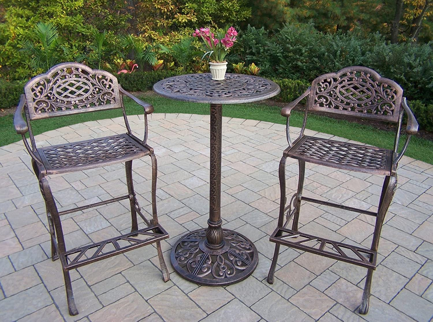 Oakland Living Mississippi Cast Aluminum 3-Piece Bar Set with 26-Inch Bar Table