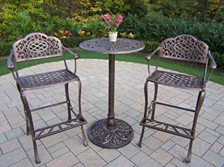 Oakland Living Mississippi Cast Aluminum 3 Piece Bar Set With 26 Inch Bar  Table