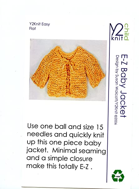 Amazon Y2knit Knitting Pattern E Z Baby Jacket Arts Crafts