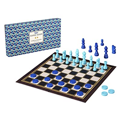 Ridley's AGAM082 Classic 2-in-1 57Piece Chess & Checkers Folding Family Board Game, Ages 8+, Blue: Toys & Games