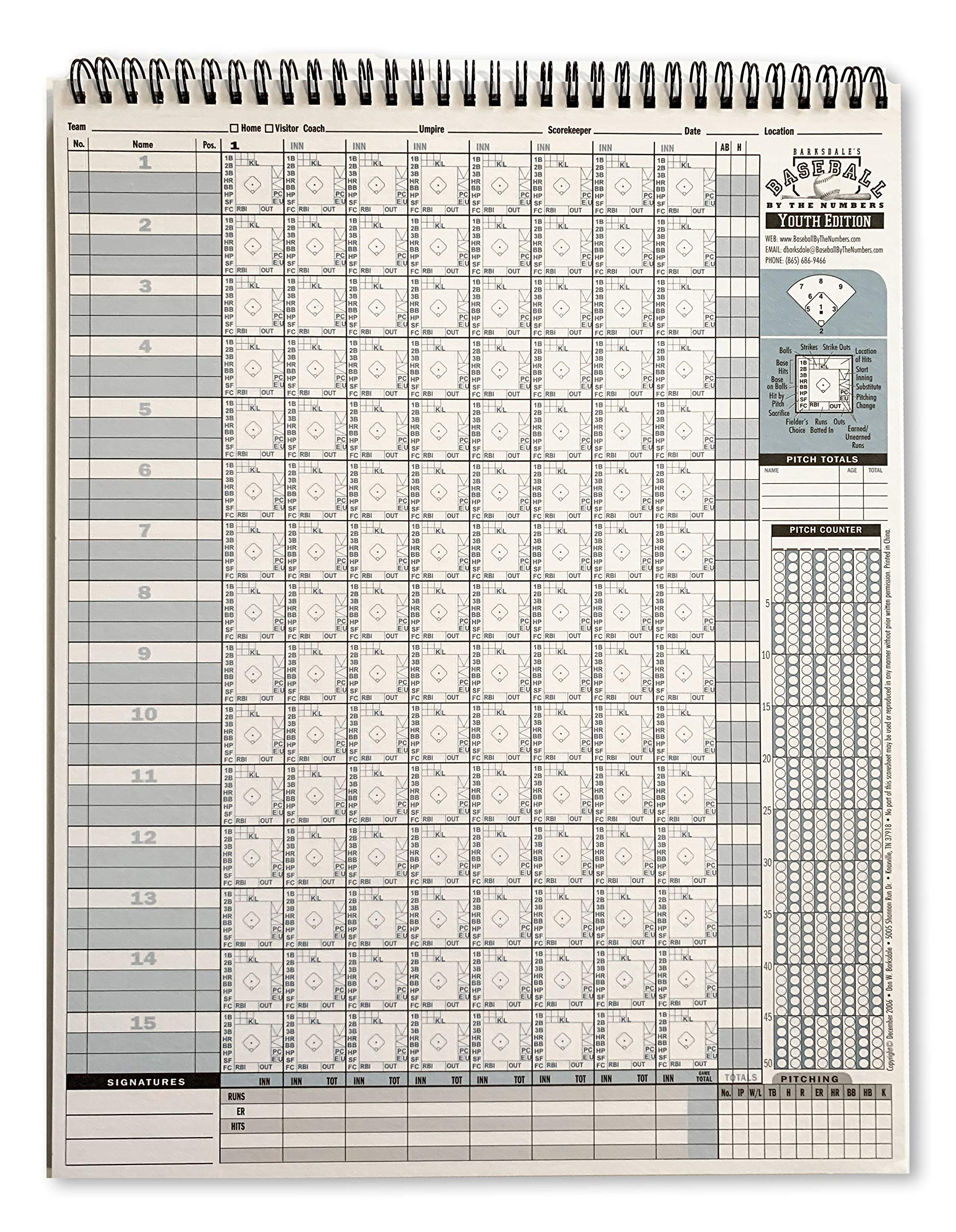 Barksdale Baseball By The Numbers Youth Edition Pitch Count Scorebook