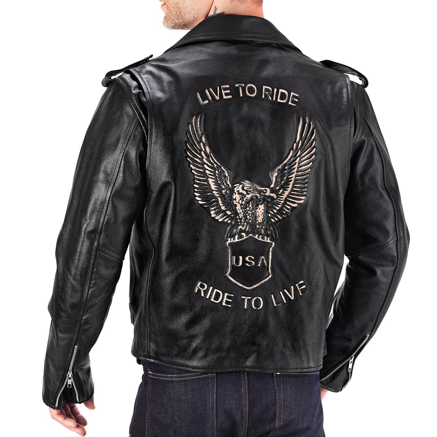 Viking Cycle American Eagle Premium Grade Cowhide Leather Motorcycle Jacket for Men (Medium)