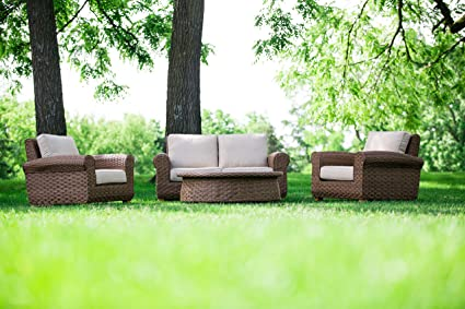 2nd Shade Patio Furniture Sunbrella Padded Outdoor Wicker 4 Piece Love Seat  Set   Aluminum