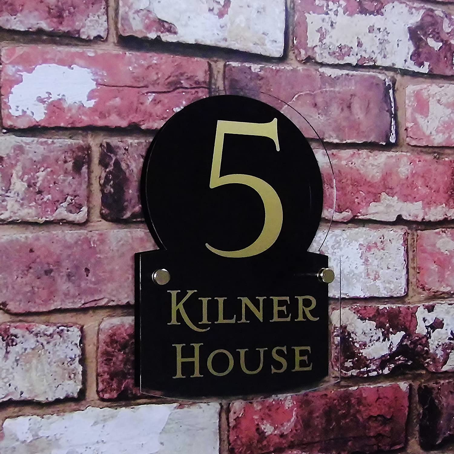 Personalised House Number Sign street Address Plaques House Name Modern Glass Effect Double Panel MADE TO ORDER Decorative BLACK House Sign Solutions
