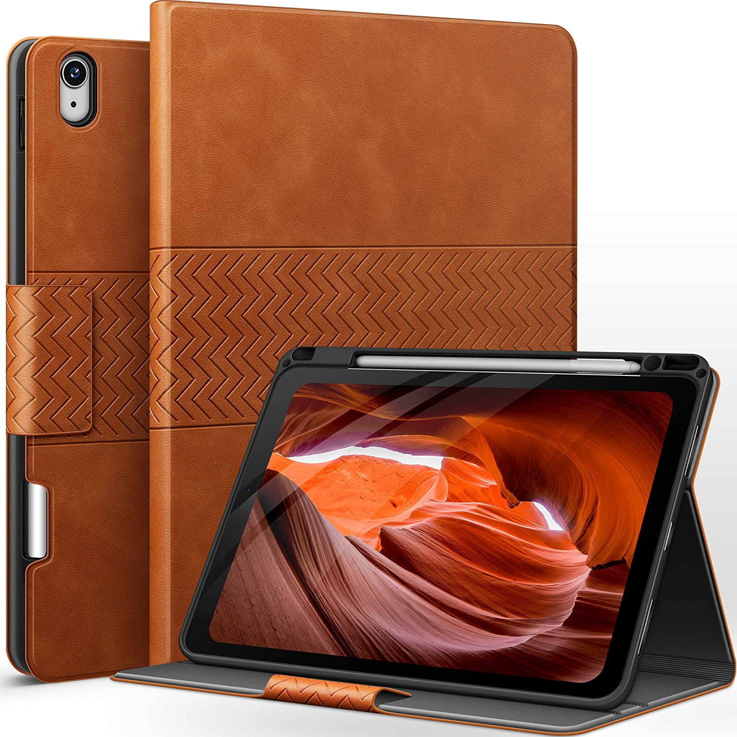 auaua iPad Air 4 10.9 Inch Case 2020 with Built-in Apple Pencil Holder PU Leather Cover for iPad Air 4th Generation 2020 (Brown)