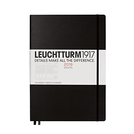 Leuchtturm1917 357901 A4 Plus Master 18 Month Academic Week Planner - Black