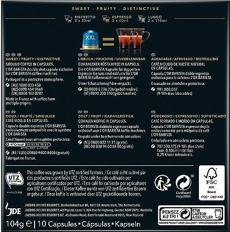 LOR BARISTA, Cápsulas Doble Espresso Decaffeinato Intensidad 06 ...