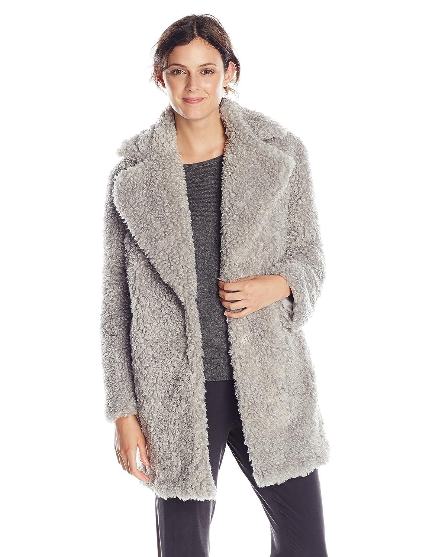 kensie Women's Notch-Collar Faux-Fur Coat Grey Medium Kensie Women's Outerwear J7991