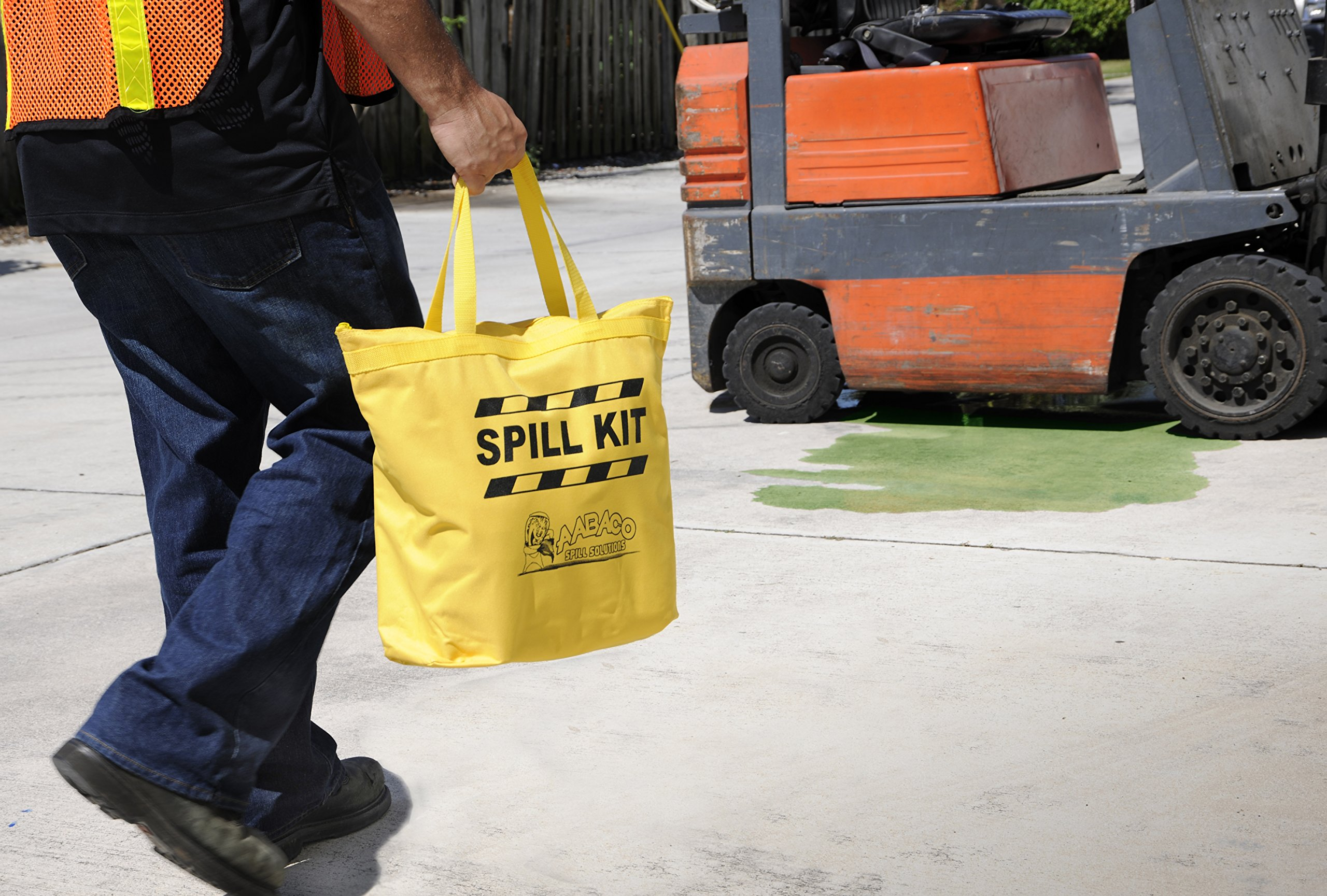 AABACO Universal Spill KIT – Perfect Spill Kits for Trucks - in Portable High Visibility Yellow Tote Bag –for Pesticide or Chemical Spill Response - Oil Containment (4 Kits)