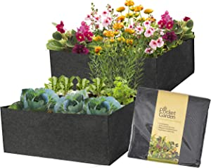 Pocket Garden Fabric Raised Bed Planter - Measures 36 x 36 Inches Square Felt Container Nonwoven Materials, Perfect For Growing Plants, Flowers, And Vegetables - For Small Space Balcony (Pack of 2)