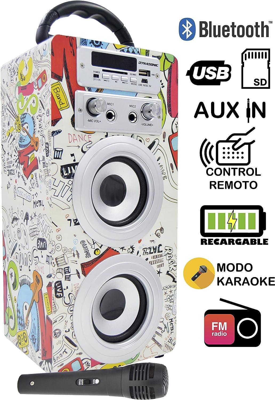 DYNASONIC 025-2 Altavoz Inalámbrico Portatil | Bluetooth, Karaoke, Micrófono Incluido, Entradas USB/SD, Radio FM, 10W