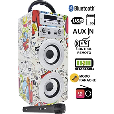 DYNASONIC - Altavoz Bluetooth Portatil Karaoke con Micrófonos Incluidos | Lector USB y SD, Radio FM Modelo 025 (1 Micrófono)