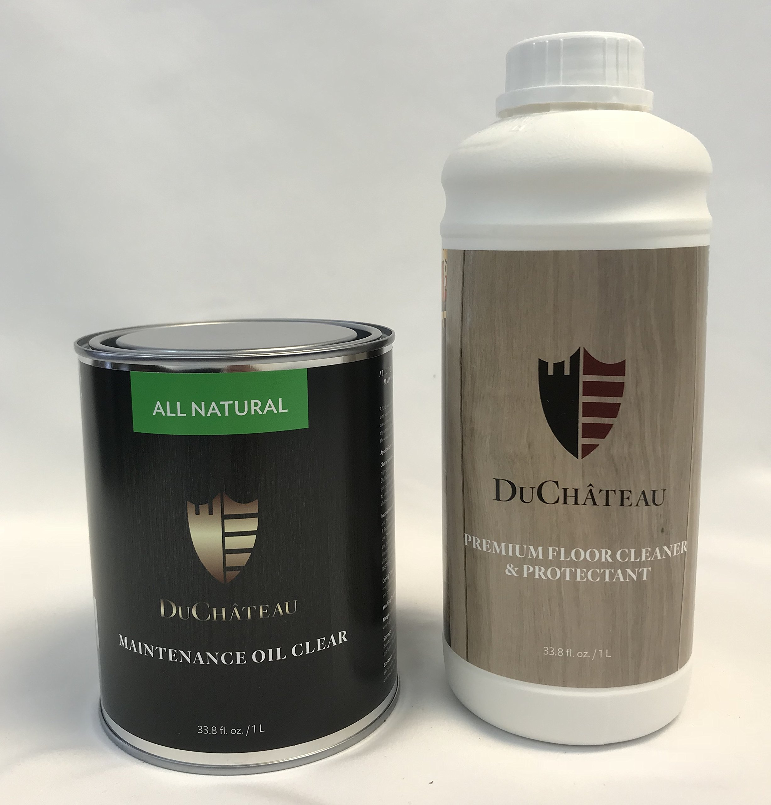 DuChateau Combo Pak DuChateau Floors 33.8 fl oz Premium Floor Cleaner & Protectant 1 Liter and 33.8 fl oz Floors Maintenance Oil, Clear 1 Liter