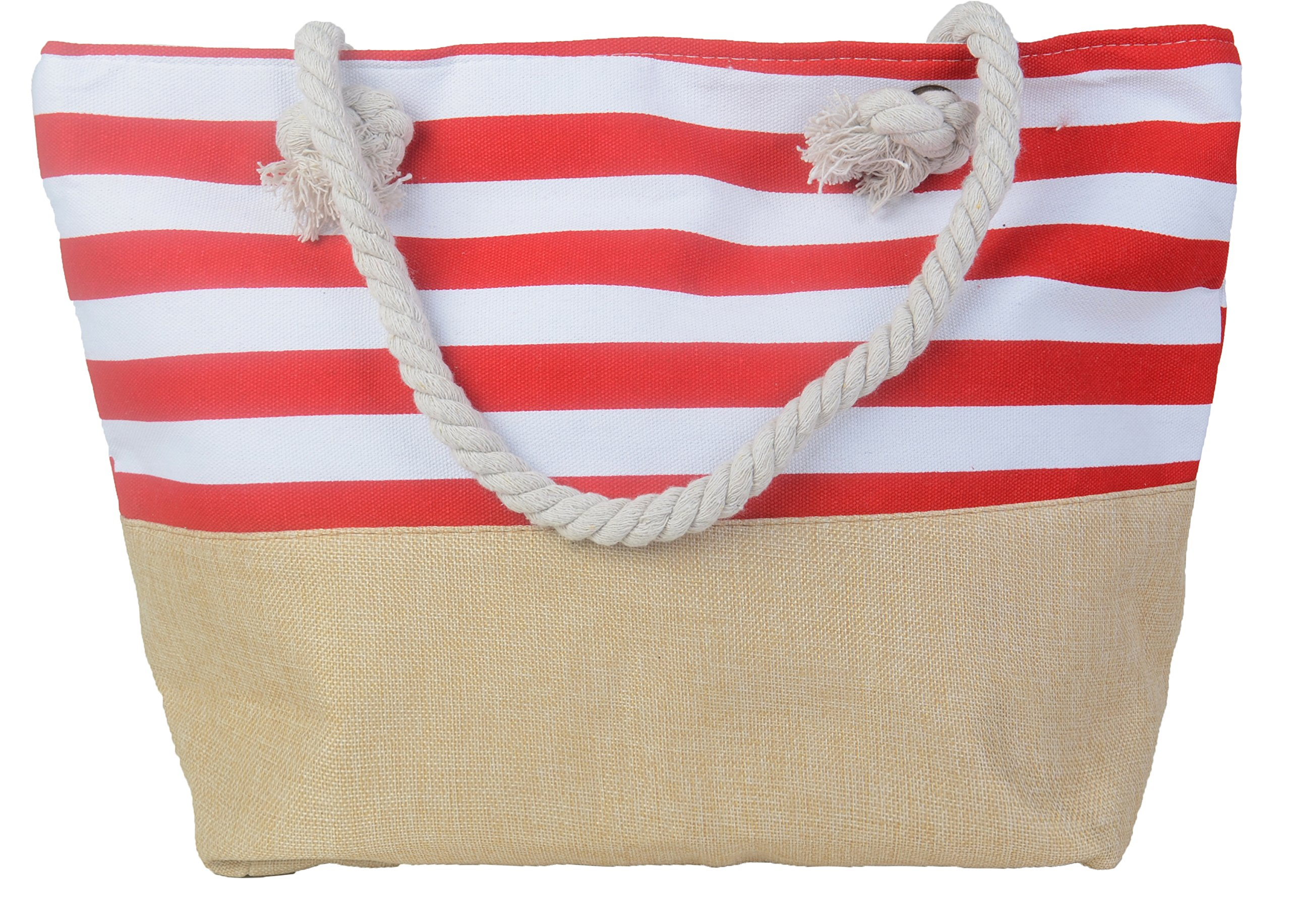 Pulama Womens Large Beach Tote Canvas Shoulder Bag Wave Striped Anchor Summer Handbag Top Handle Bag Straw Beach Bag (RED)