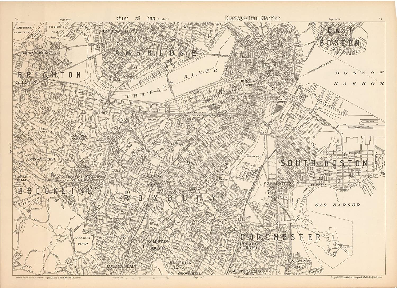 New York Vintage City Map 16x24 Bird/'s Eye View 1907 New York City