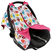 Strawberry Farms Baby Car Seat Cover Canopy and Nursing Cover 2 in 1 Blue and Pink Owl