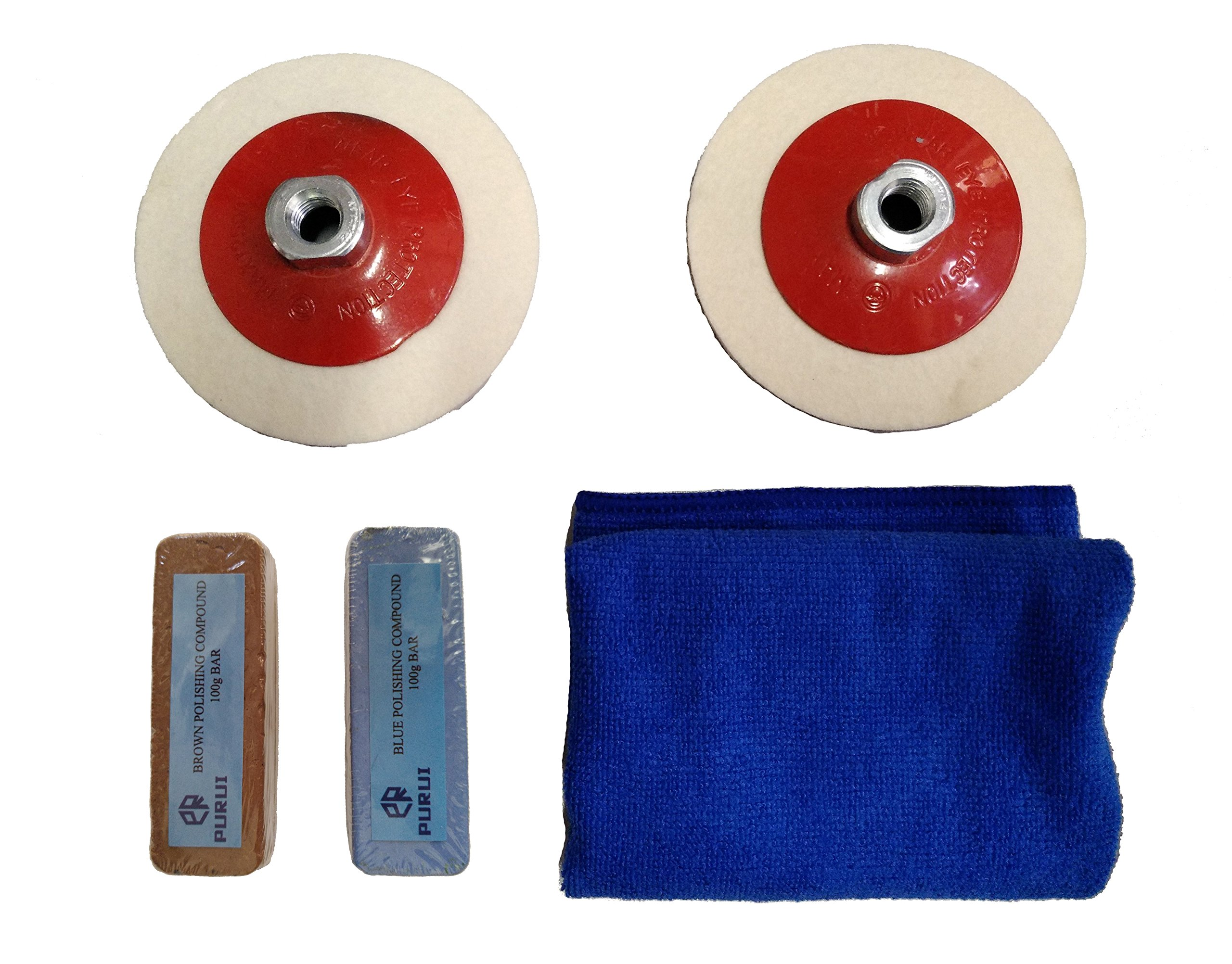 PURUI 5PC 115MM Bevelled Felt Buffing Wheel Kit With M14 x 2 Thread for Angle Grinder(For Aluminum Brass Bronze Polishing)