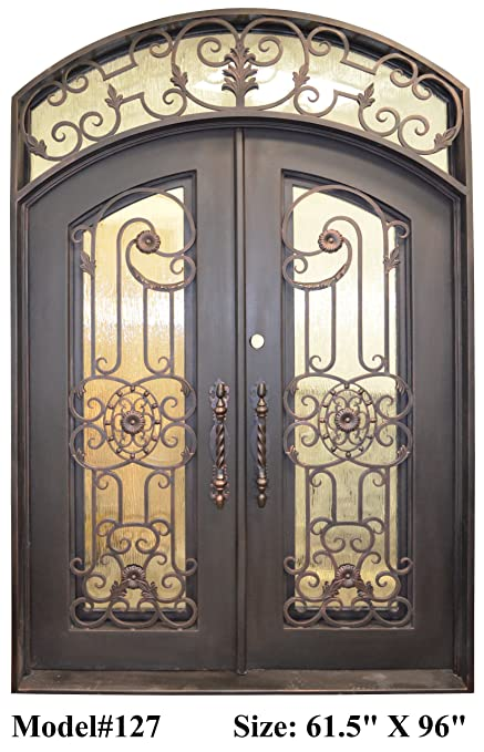 Valencia 61 In X 96 In Wrought Iron Entry Double Doors Eyebrow