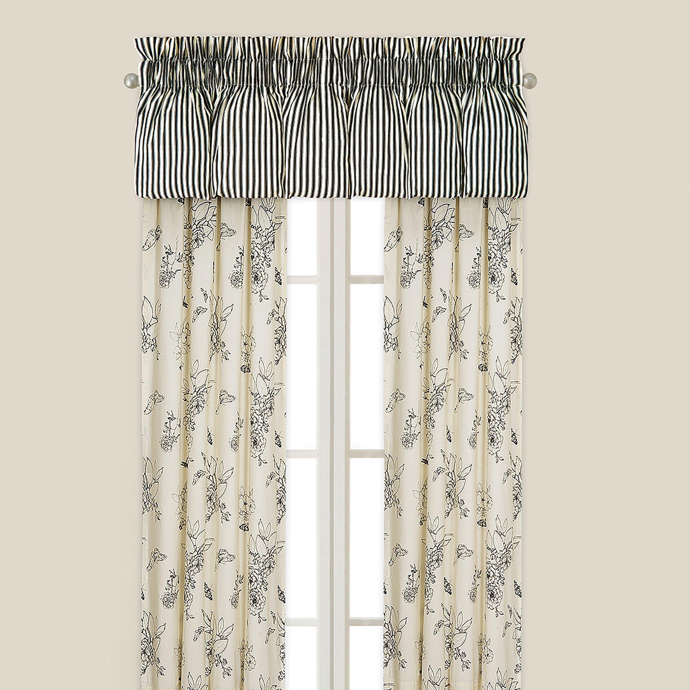 Dandridge Botanical Drapery Panel, Natural/Black