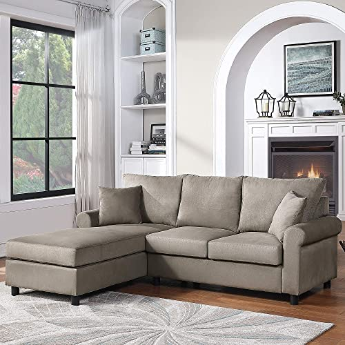 Modern Upholstered Sectional Sofa Couch, L-Shape Couch with Modern Linen Fabric for Small Space, Apartment, Living Room Grey