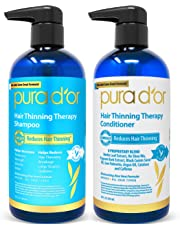 PURA D'OR Hair Thinning Therapy Shampoo & Conditioner 2-Piece System for Prevention, Infused with Premium Argan Oil, Biotin & Natural Ingredients For All Hair Types, Men & Women (Packaging may vary)