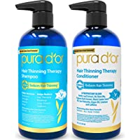 PURA D'OR Hair Thinning Therapy for Shampoo & Conditioner Set for Prevention, Infused with Argan Oil, Biotin & Natural Ingredients, for All Hair Types, Men and Women (Packaging may vary)