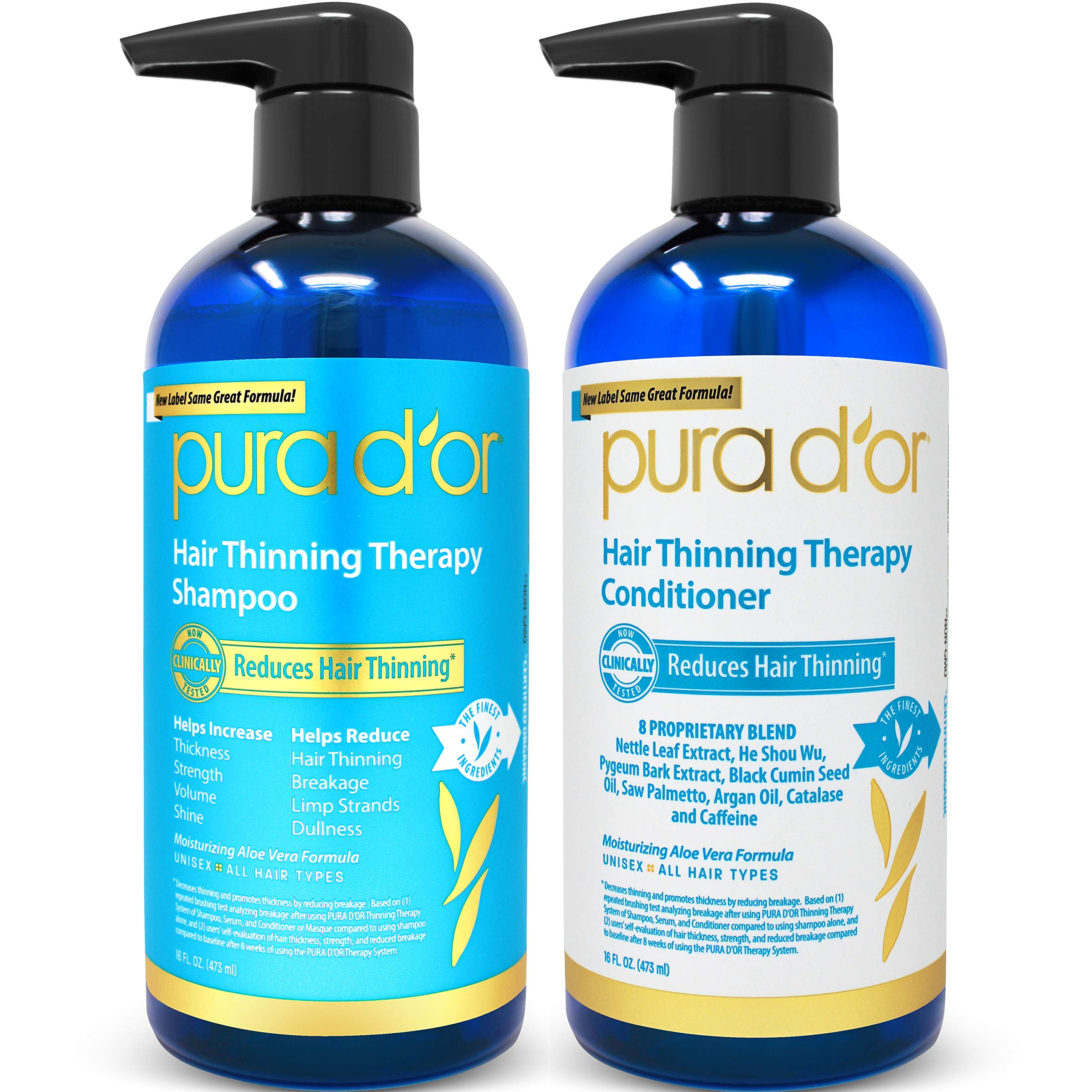 PURA D'OR Hair Thinning Therapy System - Biotin Shampoo & Conditioner Set for Hair Thinning Prevention With Natural Ingredients for All Hair Types, Men and Women (Packaging may vary) by PURA D'OR