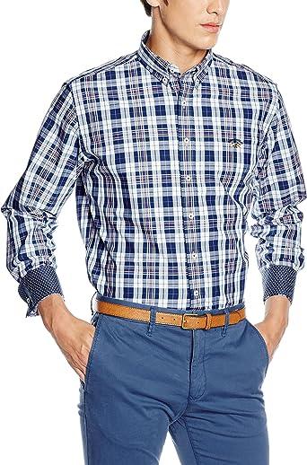 Spagnolo Camisa Popelin ALG. Banderas 0668, Cuadro Marino, Blanco, Celeste Y Naranja, 01 para Hombre: Amazon.es: Ropa y accesorios