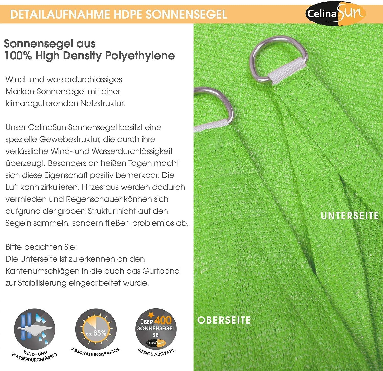 CelinaSun Tenda Parasole a Vela Giardino Balcone HDPE polietilene Traspirante Triangolo 4 x 4 x 4 m Terracotta