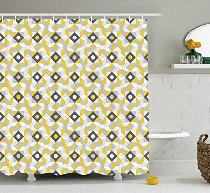 Ambesonne Grey And Yellow Shower Curtain Geometric Retro 60s 70s Home Inspired Rounds Squares Image