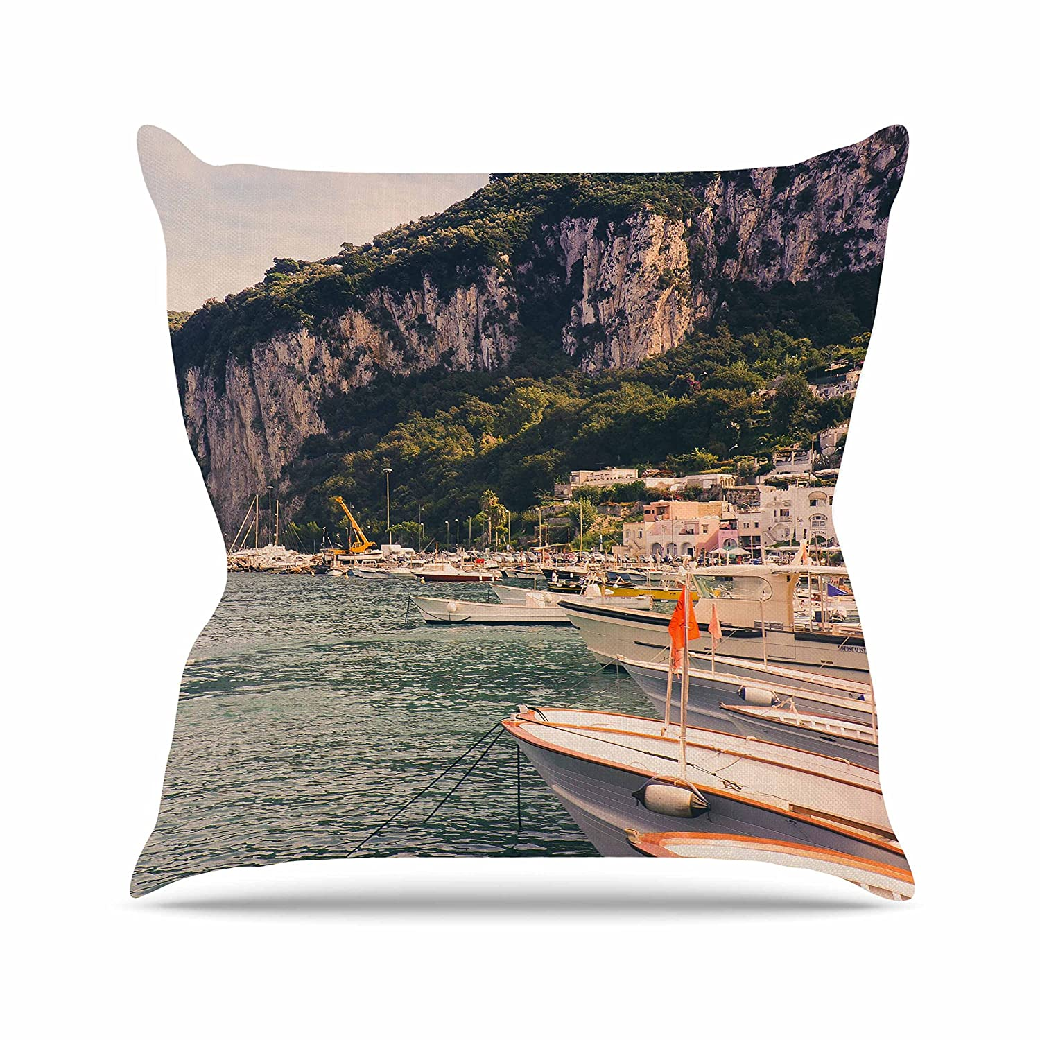 20 by 20 Kess InHouse Violet Hudson Boats of Paradise Teal Green Throw Pillow