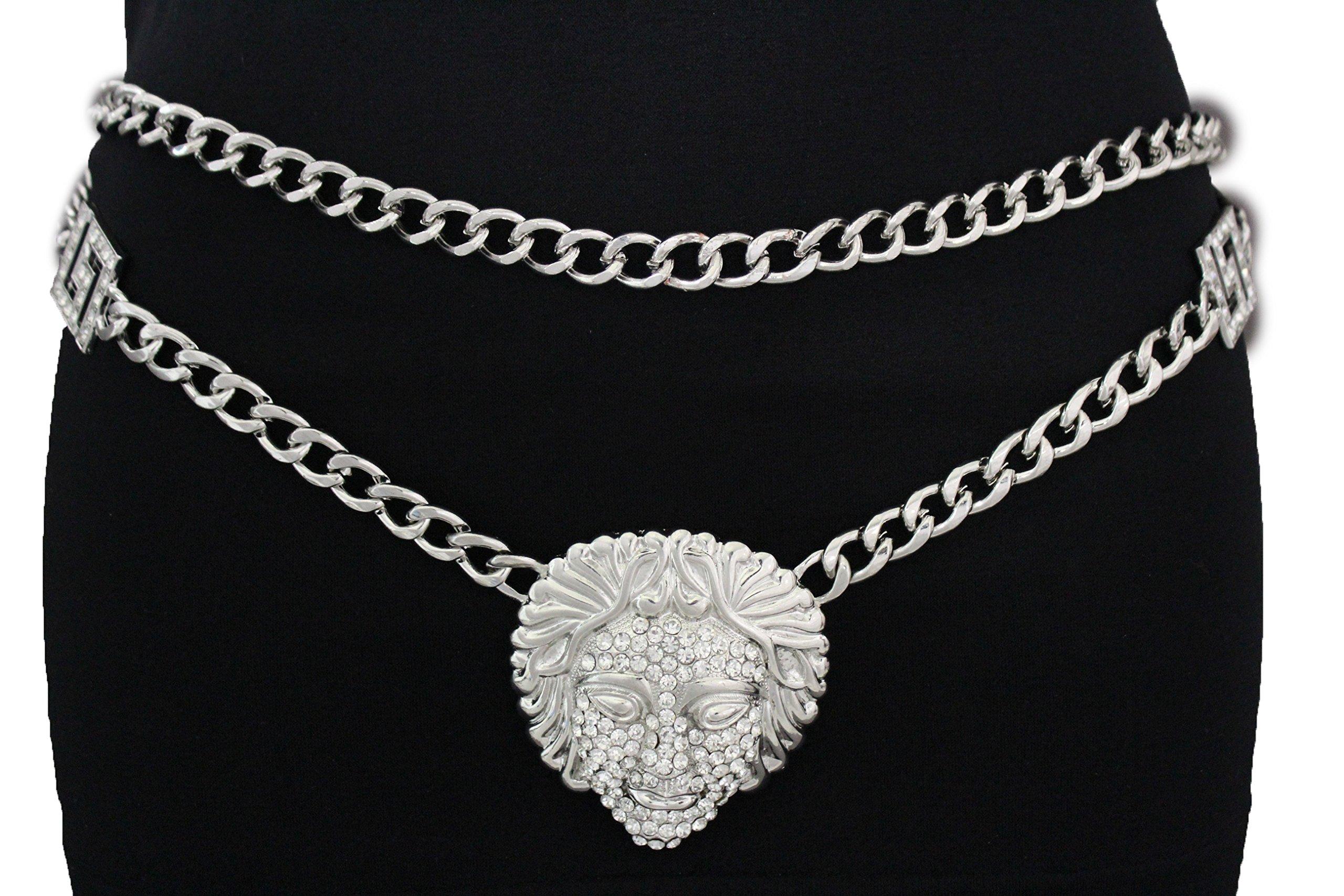TFJ Women Fashion Metal Belt Hip Waist Chunky Chain Medusa Goddess Charm Plus Silver (L/xl (Waist 35''-45''))