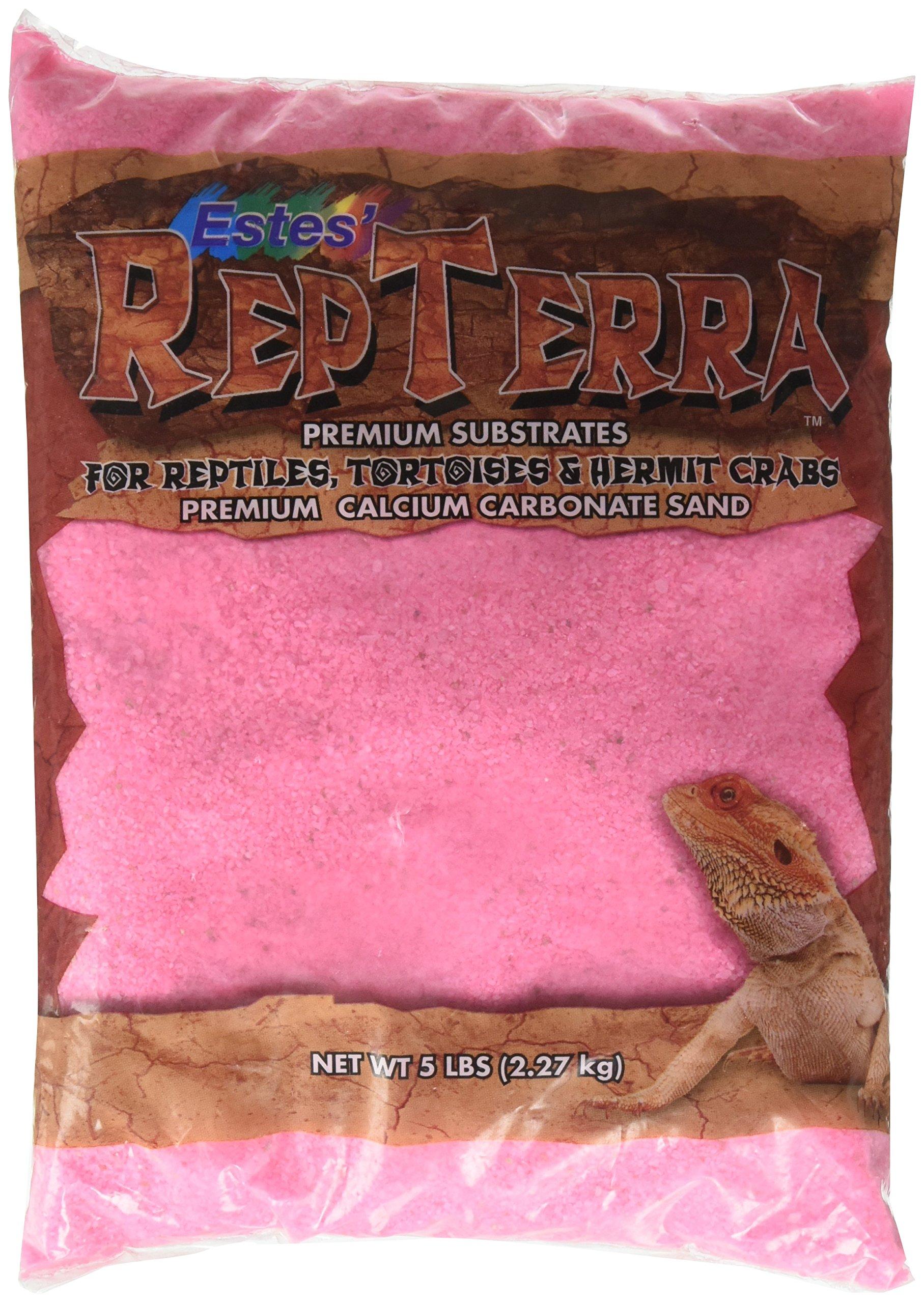 Estes Gravel Products SES62105 5-Pack RepTerra Reptile Calcium Carbonate Sand, 5-Pound, Pink by Estes'