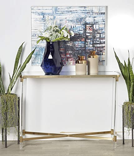 Deco 79 45838 Console Table, Gold, Clear