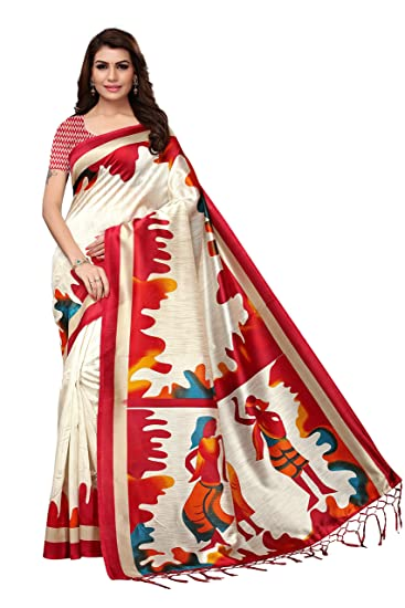 27299ada4 Sherya Fashion Women s Mysore Silk Printed Tassel Saree With Blouse(S182176 White Free  Size)  Amazon.in  Clothing   Accessories
